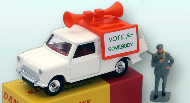 Austin Mini Van Vote For Somebody